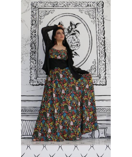فستان زيتي مشجر