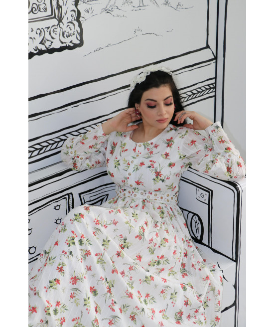 فستان قطن ايطالي ابيض مشجر